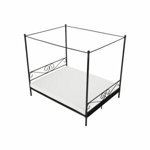 TEMPO KONDELA Abena kovová manželská posteľ s roštom čierna
