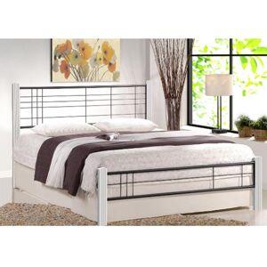 HALMAR Viera 160 kovová manželská posteľ s roštom biela / čierna