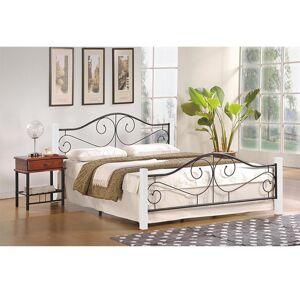 HALMAR Violetta 140 kovová manželská posteľ s roštom biela / čierna