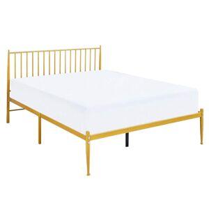 TEMPO KONDELA Zahara kovová manželská posteľ s roštom zlatá