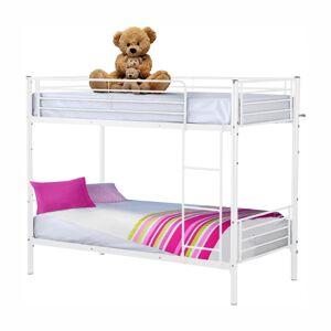 TEMPO KONDELA Jamila kovová poschodová posteľ s roštom biela