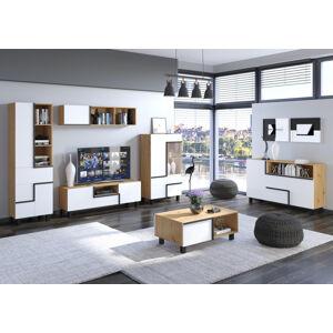 MEBLOCROSS Lars obývacia izba dub artisan / biela