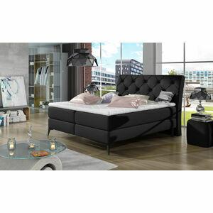NABBI Lazio 140 čalúnená manželská posteľ s úložným priestorom čierna (Soft 11)