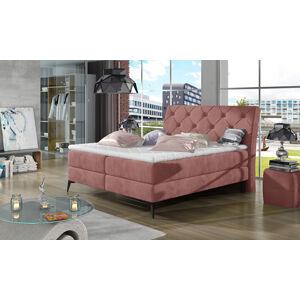 NABBI Lazio 140 čalúnená manželská posteľ s úložným priestorom ružová (Kronos 29)