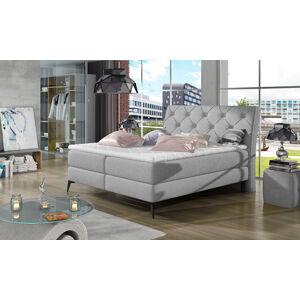 NABBI Lazio 140 čalúnená manželská posteľ s úložným priestorom svetlosivá