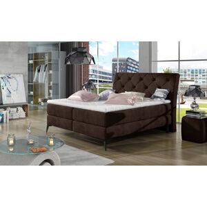 NABBI Lazio 140 čalúnená manželská posteľ s úložným priestorom tmavohnedá