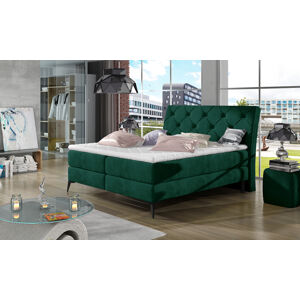 NABBI Lazio 160 čalúnená manželská posteľ s úložným priestorom tmavozelená