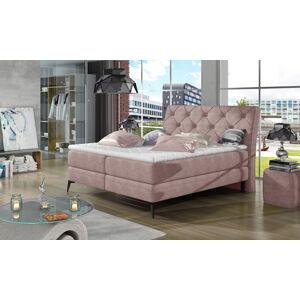 NABBI Lazio 180 čalúnená manželská posteľ s úložným priestorom ružová (Omega 91)