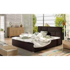NABBI Liza UP 200 čalúnená manželská posteľ s roštom tmavohnedá (Sawana 26)