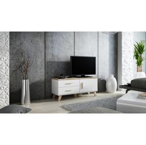 CAMA MEBLE Lotta 120 1D2S tv stolík biela / dub sonoma