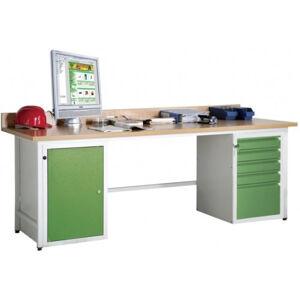 NABBI LUX dielenský pc stôl svetlosivá / zelená