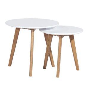 KONDELA Malto New konferenčný stolík (2 ks) biela / buk