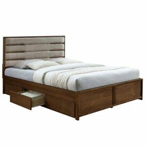 TEMPO KONDELA Betra 183 manželská posteľ s roštom a úložným priestorom orech / béžová