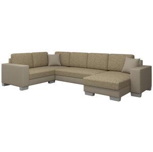 NABBI Mariano L rohová sedačka u s rozkladom a úložným priestorom cappuccino / béžová