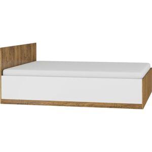 MEBLOCROSS Maximus MXS-18 160 manželská posteľ s roštom dub burgundský / biely lesk