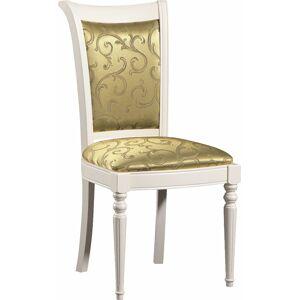 TARANKO Krzeslo M jedálenská stolička biela / zlato-zelený vzor (A4 0304)
