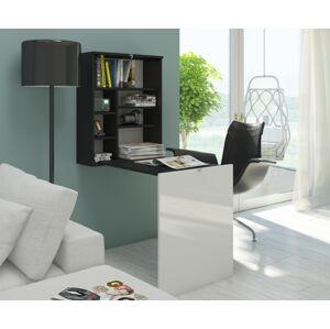 MEBLOCROSS Hide rozkladací písací stolík s regálom čierna / biela
