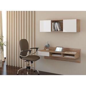 MEBLOCROSS Uno pc stolík na stenu s policou sonoma svetlá / biela