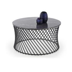 HALMAR Minerwa okrúhly konferenčný stolík sivý mramor / čierna