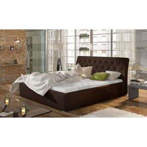 NABBI Monzo UP 160 čalúnená manželská posteľ s roštom tmavohnedá (Soft 66)