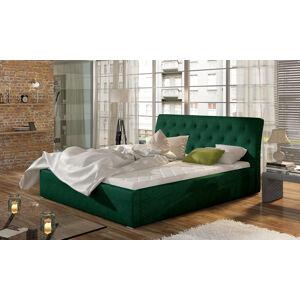 NABBI Monzo UP 160 čalúnená manželská posteľ s roštom tmavozelená
