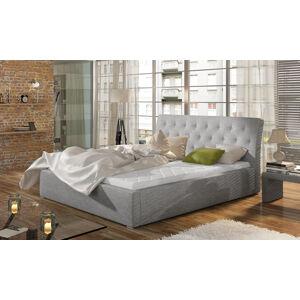 NABBI Monzo 180 čalúnená manželská posteľ s roštom svetlosivá (Sawana 21)
