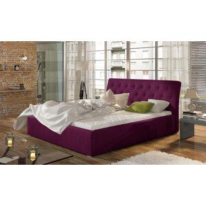 NABBI Monzo UP 180 čalúnená manželská posteľ s roštom vínová