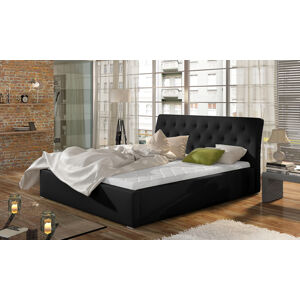NABBI Monzo UP 200 čalúnená manželská posteľ s roštom čierna