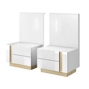 TEMPO KONDELA City nočný stolík (2 ks) s osvetlením biela / dub grandson / biely lesk