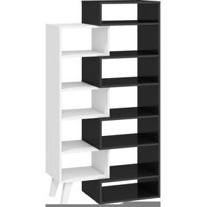 MEBLOCROSS Nordis NOR-12 regál čierna / biela