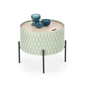 HALMAR Sintra okrúhly konferenčný stolík s úložným priestorom svetlozelená / prírodná / čierna