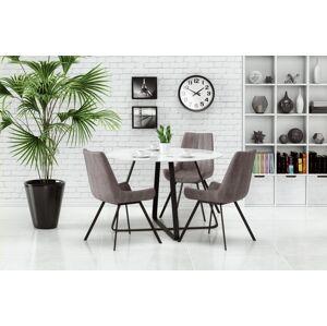 HALMAR Looper okrúhly sklenený jedálenský stôl biela / čierna