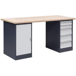 NABBI OL03/O1O5 pracovný stôl grafit / svetlosivá