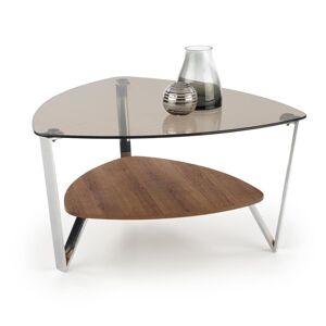HALMAR Oprah sklenený konferenčný stolík hnedá dymová / dub zlatý