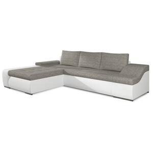 NABBI Oristano L rohová sedačka s rozkladom a úložným priestorom sivá / biela