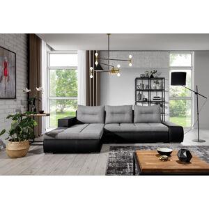 NABBI Otelo L rohová sedačka s rozkladom a úložným priestorom svetlosivá / čierna