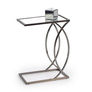 HALMAR Parma príručný stolík nikel / priehľadná