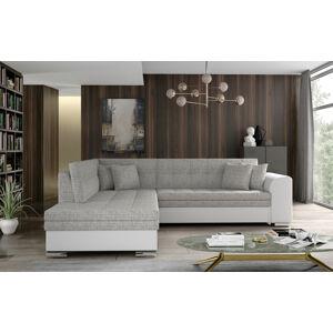 NABBI Pescara L rohová sedačka s rozkladom a úložným priestorom sivá (Berlin 01) / biela (Soft 17)