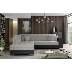 NABBI Pescara L rohová sedačka s rozkladom a úložným priestorom sivá / čierna
