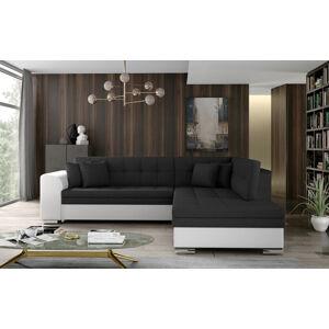 NABBI Pescara P rohová sedačka s rozkladom a úložným priestorom čierna (Sawana 14) / biela (Soft 17)