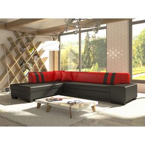 NABBI Pinero II L rohová sedačka s rozkladom a úložným priestorom čierna / červená