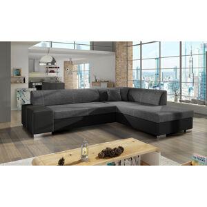 NABBI Pinero P rohová sedačka s rozkladom a úložným priestorom sivá (Sawana 05) / čierna (Soft 11)