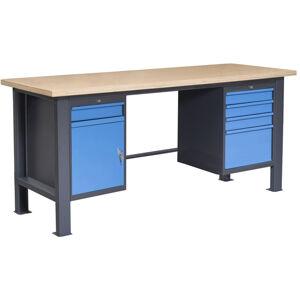 NABBI PL03L/P2P4 pracovný stôl grafit / modrá