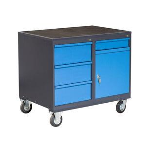 NABBI PLW01G/P8P2 dielenský vozík na kolieskach so zámkom grafit / modrá