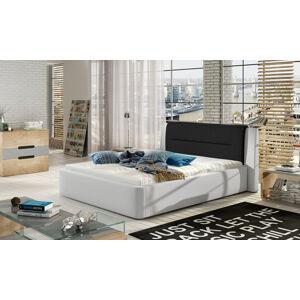 NABBI Portima 140 čalúnená manželská posteľ biela (Soft 17) / čierna (Sawana 14)