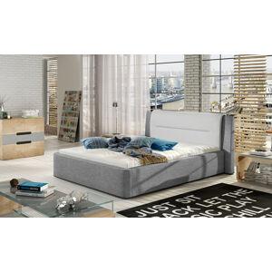 NABBI Portima 140 čalúnená manželská posteľ svetlosivá / biela