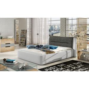 NABBI Portima 160 čalúnená manželská posteľ biela (Soft 17) / čierna (Berlin 02)