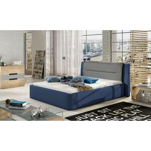 NABBI Portima 160 čalúnená manželská posteľ modrá / sivá