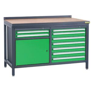 NABBI PSS02D/L2L8 pracovný stôl grafit / zelená