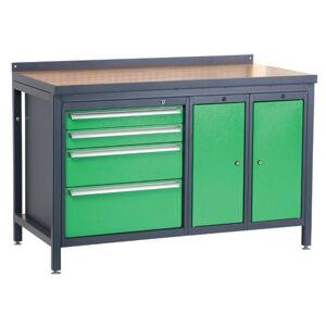 NABBI PSS02D/L6L10L10 pracovný stôl grafit / zelená